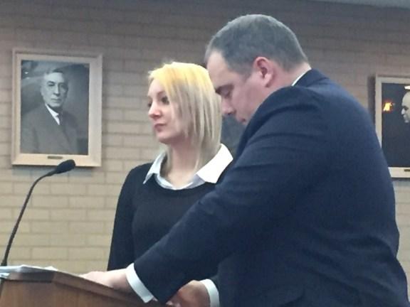 Jennifer Wigren with her attorney, Tim Hayes.