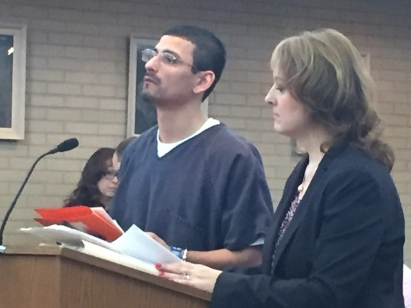 Javier Borrego with his attorney, Julie Springstead Waltz.
