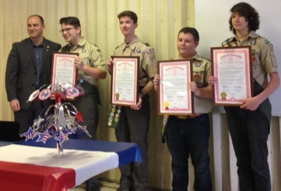 State Rep. Scott VanSingel (R-Grant), at left, honors Pentwater Eagle Scouts Jacob Whitford, Jake Quinn, Franklyn Adams and Stephen Boyko. Missing from the photo is Troop 1145's fifth Eagle Scout Nathan Drechen.  Contributed photo.