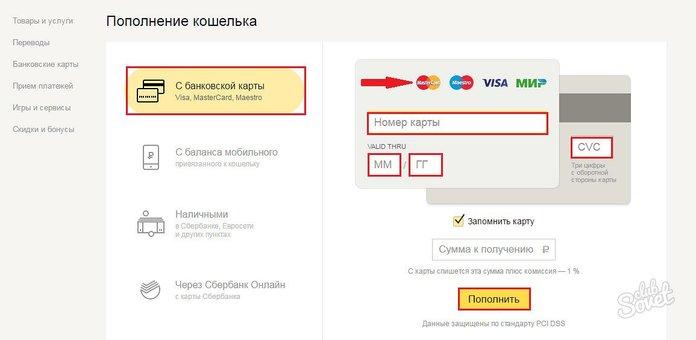 Cách chuyển tiền từ Sberbank trên ví Yandex
