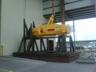 Fit testing UTA prior to mudmat completion during manufacturing in Houston, TX. Photo:  Oceaneering®