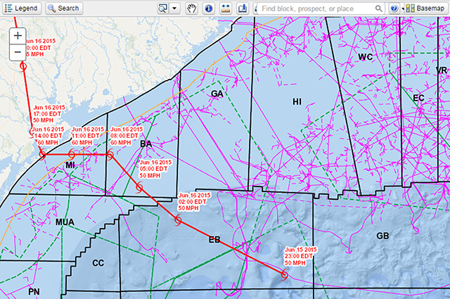 Surveying and Mapping - CCGIS Map GIS Application Provides Maps Offshore Infrastructure Wells, Platforms, Pipelines, etc.