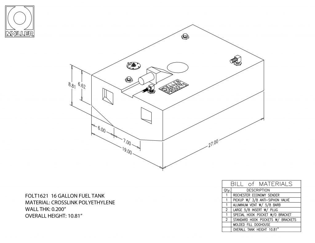 16 Gallon Rectangular Shaped Fuel Tank 27 00 X 19 00 X