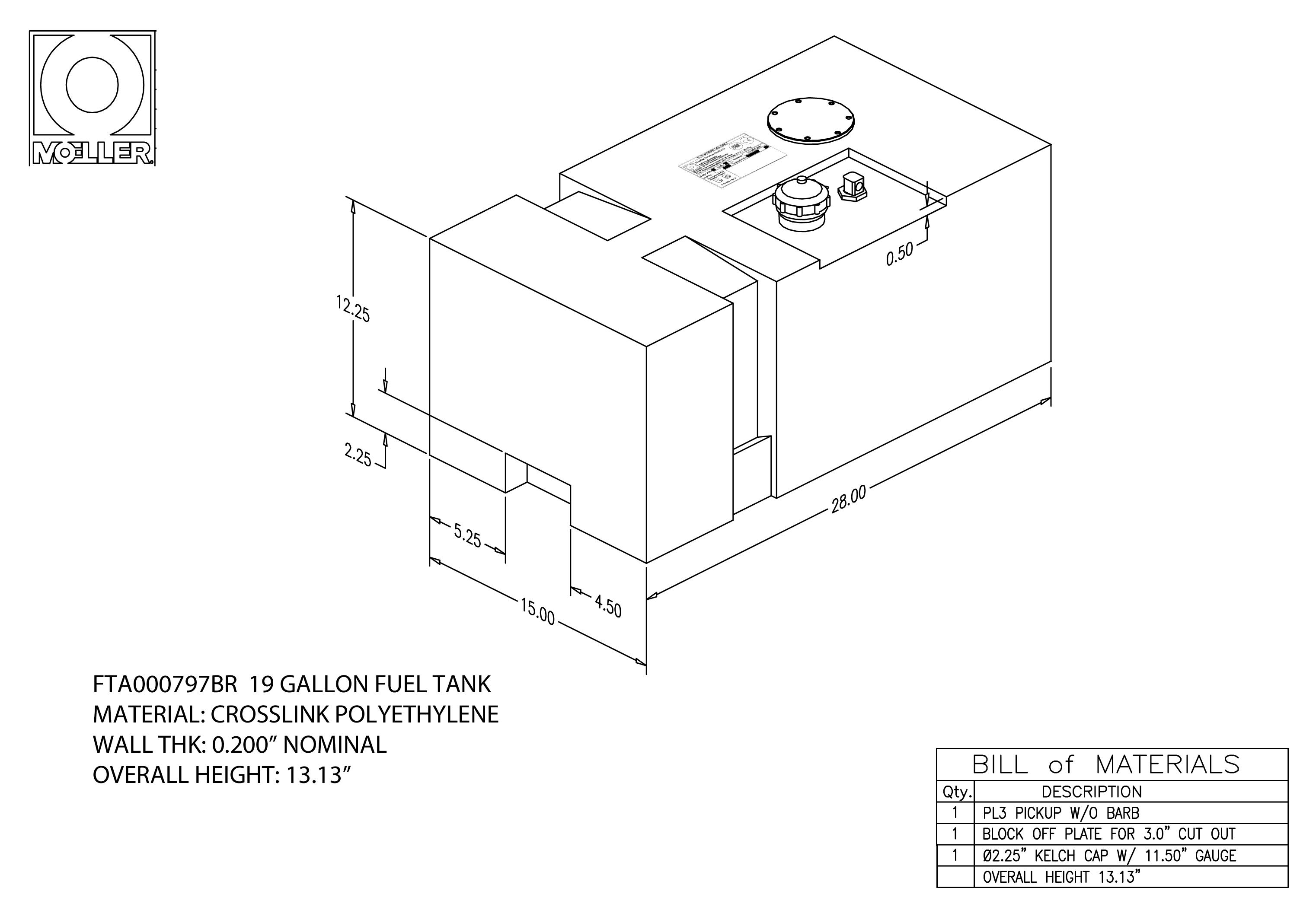 19 Gallon Rectangular Shaped Fuel Tank 28 X 15 X 12 25