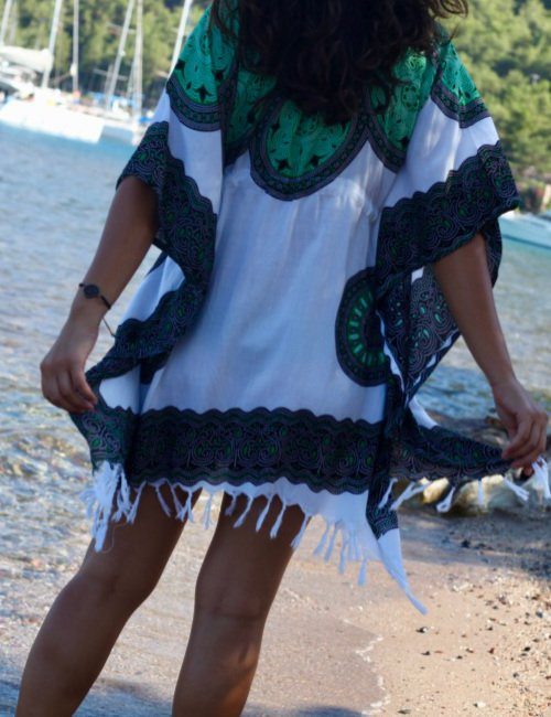 Green light cotton flow dress for the beach
