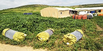 Residential tents provided in Khirbet ar Ras al Ahmar under the inter-agency demolition response mechanism. © Photo by WBPC