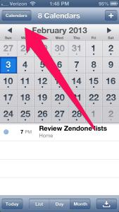 Launch Your Calendar App and select the Calendar button