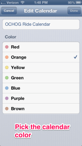Select the color you want the calendar entries to be displayed in