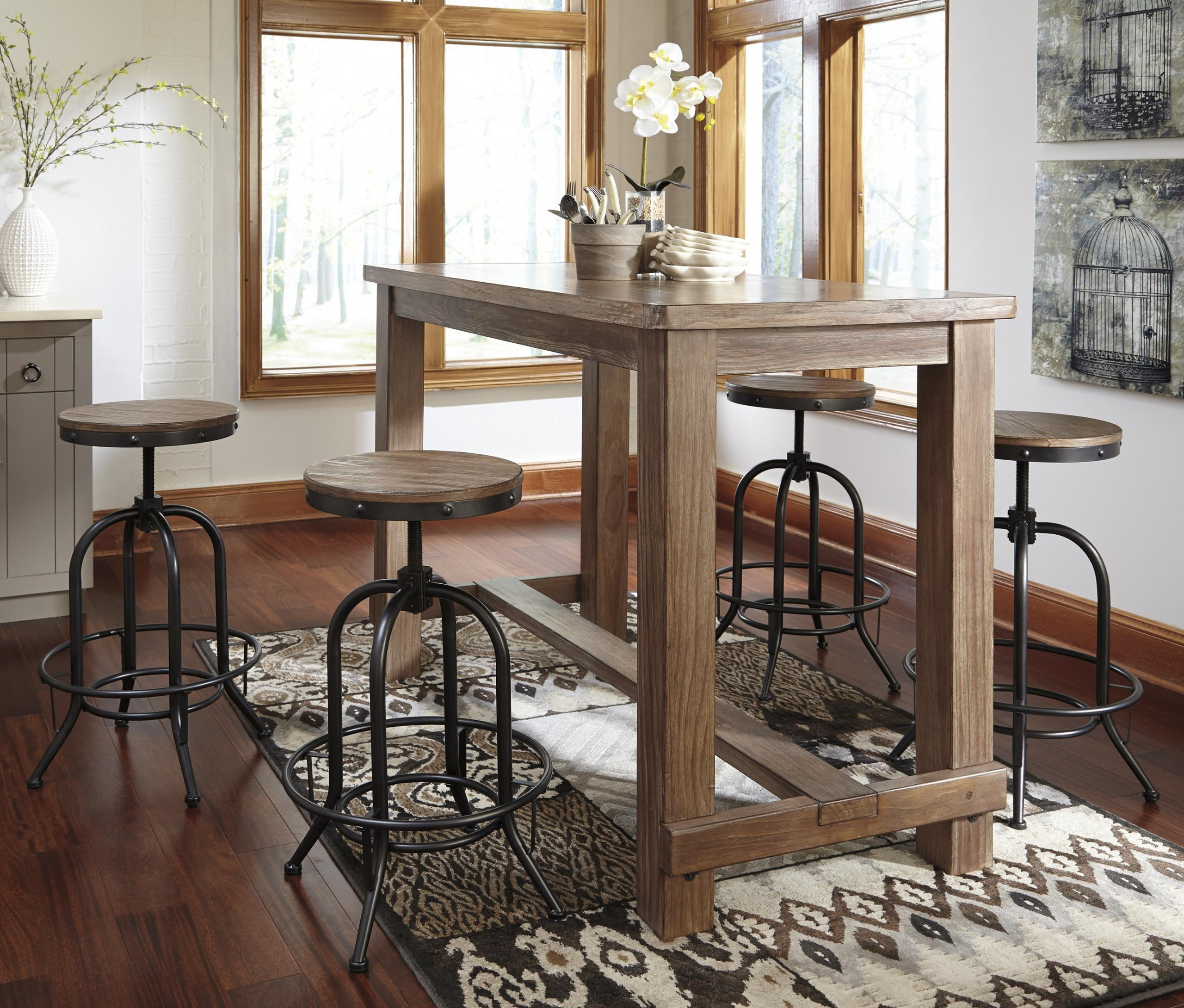 Pinnadel 5 Piece Bar Table Set With Industrial Style Adjustable Swivel Stools Oc Homestyle Furniture