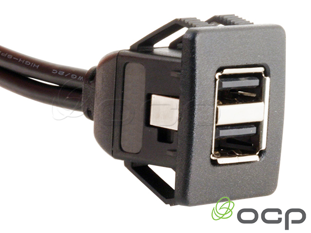"""Dual USB A Female to A Male Panel Mount """"Snap In"""" Cable"""