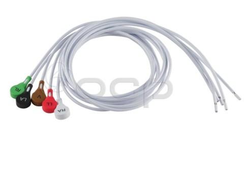"5 Piece Mini Snap Shielded Leadwire Assembly Kit, 36"" Blunt Cut, AHA Coded"