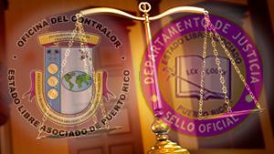 Logos de Oficina del Contralor y Departamento de Justicia