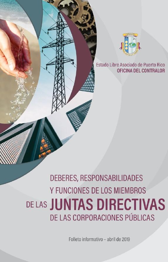 Portada de folleto, Deberes, responsabilidades y funciones de los miembros de las juntas directivas de las corporaciones públicas
