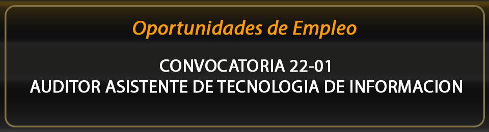 Convocatoria 22-01. Auditor Asistente de Tecnología de Información