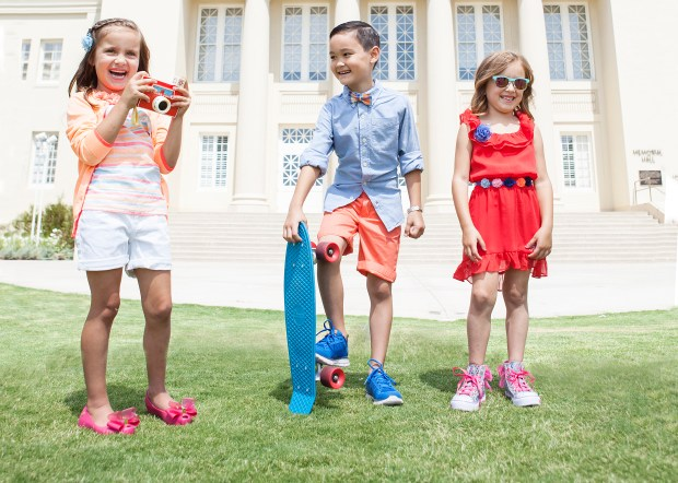 Stella Caviston, 6, of Orange, Joshua Kobzeff, 7, of Fountain Valley, and Bella Caviston, 6, of Orange, wear colorful threads at Chapman University in Orange on June 21, 2016. Styling by Leslie Christen, and hair and makeup by Abigail Nuezca. (Photo by Noel Besuzzi, contributing photographer)