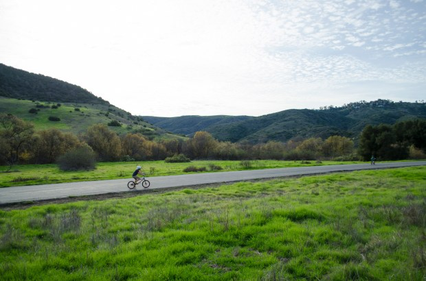 A visitor to Aliso and Wood Canyons Wilderness Park rides along a trail near Aliso Creek on January 8, 2017. (Photo by Jeff Gritchen, Orange County Register/SCNG)