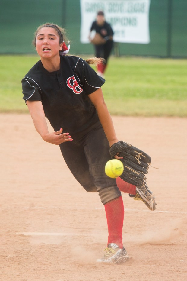 Garden Grove's Olivia Candelas pitches the ball against Rancho Alamitos Thursday April 27, 2017. (Photo by Drew A. Kelley, Contributing Photographer)