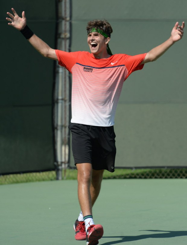 Woodbridge's Stephan Dostanic reacts after winning the CIF-SS Individuals tennis title over Peninsula's Connor Hance Saturday, June 03, 2017, Seal Beach, CA. (Photo by Steve McCrank, Daily Breeze/SCNG)