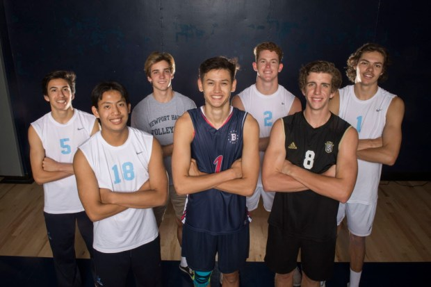 The Orange County Register's All-County boys volleyball team includes Corona del Mar's Diego Perez, Corona del Mar's Patrick Paragas, Newport Harbor's Cole Pender, Player of the Year Beckman's Spencer Olivier, Corona del Mar's Mitch Haly, Servite's Garrett Halsey, and Corona del Mar's Jake Meyer, from left. Photographed in the gym at Newport Harbor High in Newport Beach, CA on Wednesday, June 7, 2017. (Photo by Kevin Sullivan, Orange County Register/SCNG)