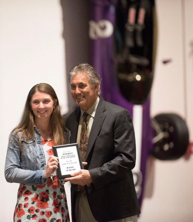 Beth Lillie, Troy, accepts her award for Girls Golf Athlete of the Year at the Register's Athletes of the Year Banquet at Marconi Auto Museum in Tustin on Thursday, June 8, 2017. (Photo by Matt Masin, Orange County Register, SCNG)