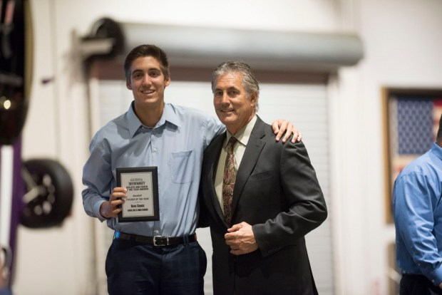 Hans Crouse, Dana Hills accepts his award for Baseball Pitcher Athlete of the Year at the Register's Athletes of the Year Banquet at Marconi Auto Museum in Tustin on Thursday, June 8, 2017. (Photo by Matt Masin, Orange County Register, SCNG)