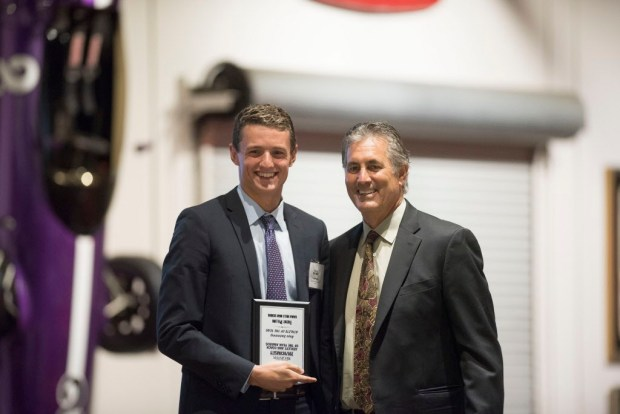 Trent Pellini, Dana Hills, accepts his award for Boys Swimming Athlete of the Year at the Register's Athletes of the Year Banquet at Marconi Auto Museum in Tustin on Thursday, June 8, 2017. (Photo by Matt Masin, Orange County Register, SCNG)