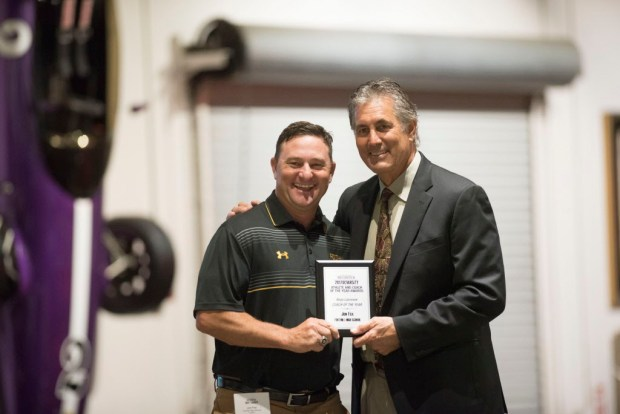 Jon Fox, Foothill, accepts his award for Boys Lacrosse Coach of the Year at the Register's Athletes of the Year Banquet at Marconi Auto Museum in Tustin on Thursday, June 8, 2017. (Photo by Matt Masin, Orange County Register, SCNG)