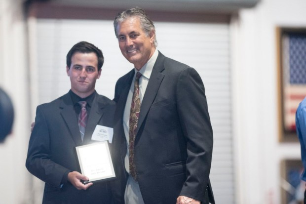 Kyle Kinnane accepts his award for Boys Golf Athlete of the Year at the Register's Athletes of the Year Banquet at Marconi Auto Museum in Tustin on Thursday, June 8, 2017. (Photo by Matt Masin, Orange County Register, SCNG)