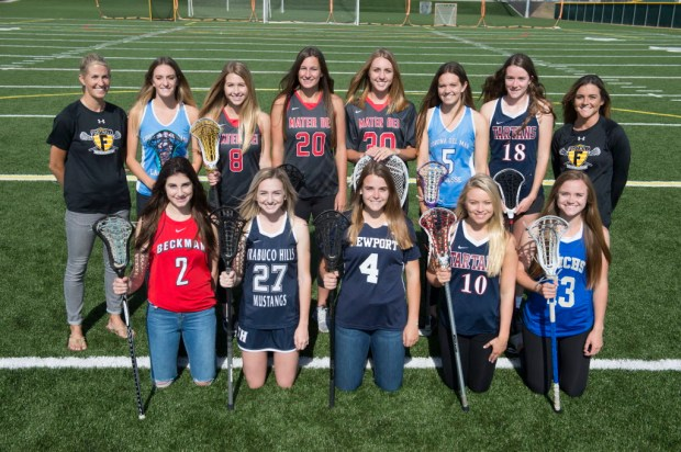The Register's All-County girls lacrosse team from top row left: Foothill head coach , Corona del Mar's Kennedy Mulvaney, Mater Dei's Grace Houser, Mackenzie Wallevand, Courtney Walburger, Corona del Mar's Katherine Mulvaney, St. Margaret's Cailin Young, and Foothill assistant coach . Bottom row from left: Beckman's Molly Allen, Trabuco Hills' Hennessey Evans, Newport Harbor's Katie Hendrix, St. Margaret's Cameron Manor, and Santa Margarita's Erin Dibernardo. (Photo by Kyusung Gong/Orange County Register/SCNG)
