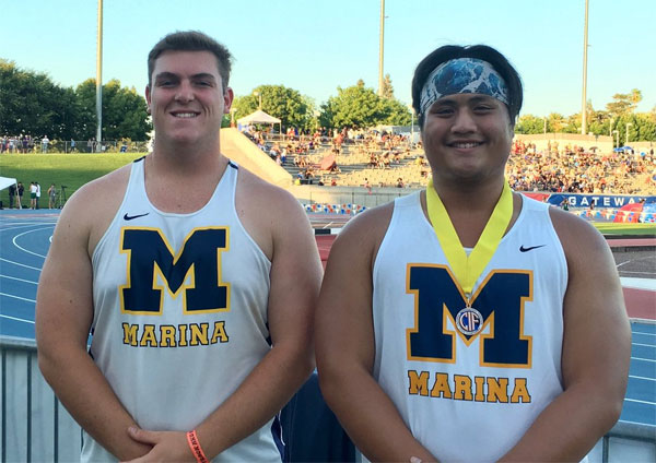 Marina's Jake Arnold, left, placed ninth and Kyle Tsu finished fourth in the shot put at the CIF State Track and Field Meet on Saturday. (Courtesy Marina High)