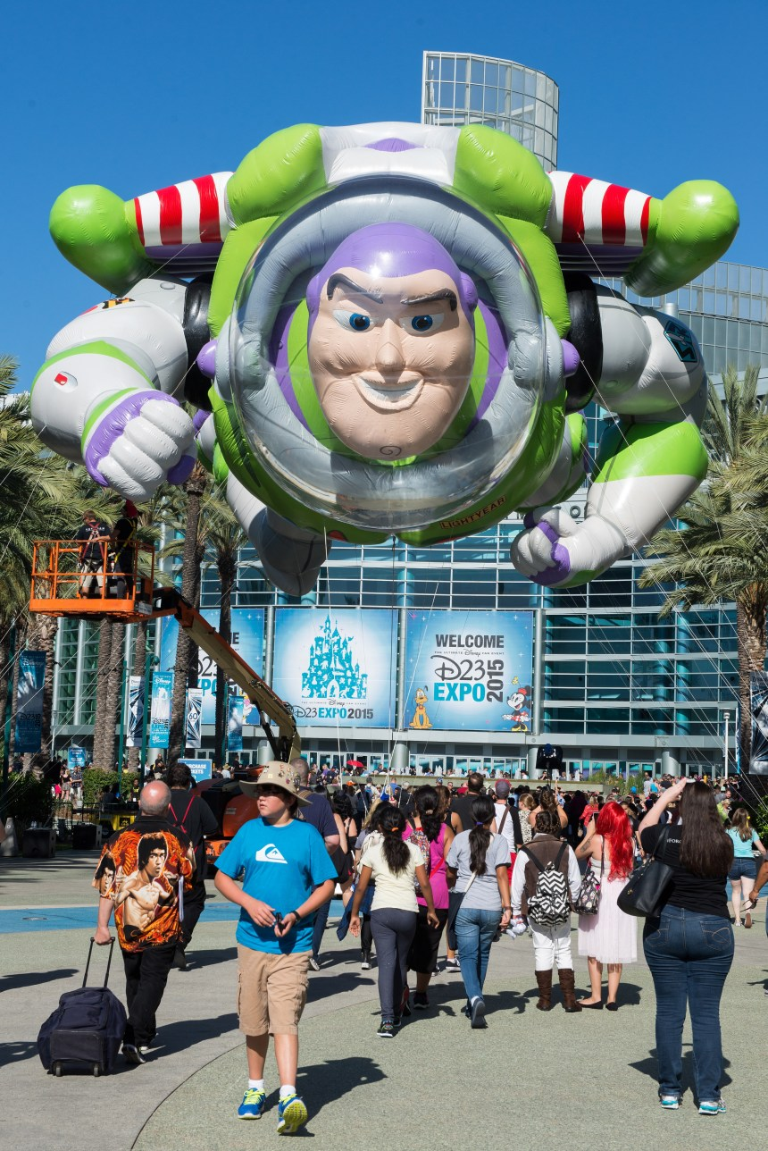 File Photo: A giant Buzz Lightyear greets visitors to the first day of D23 EXPO 2015 at the Anaheim Convention Center. LEONARD ORTIZ, ORANGE COUNTY REGISTER