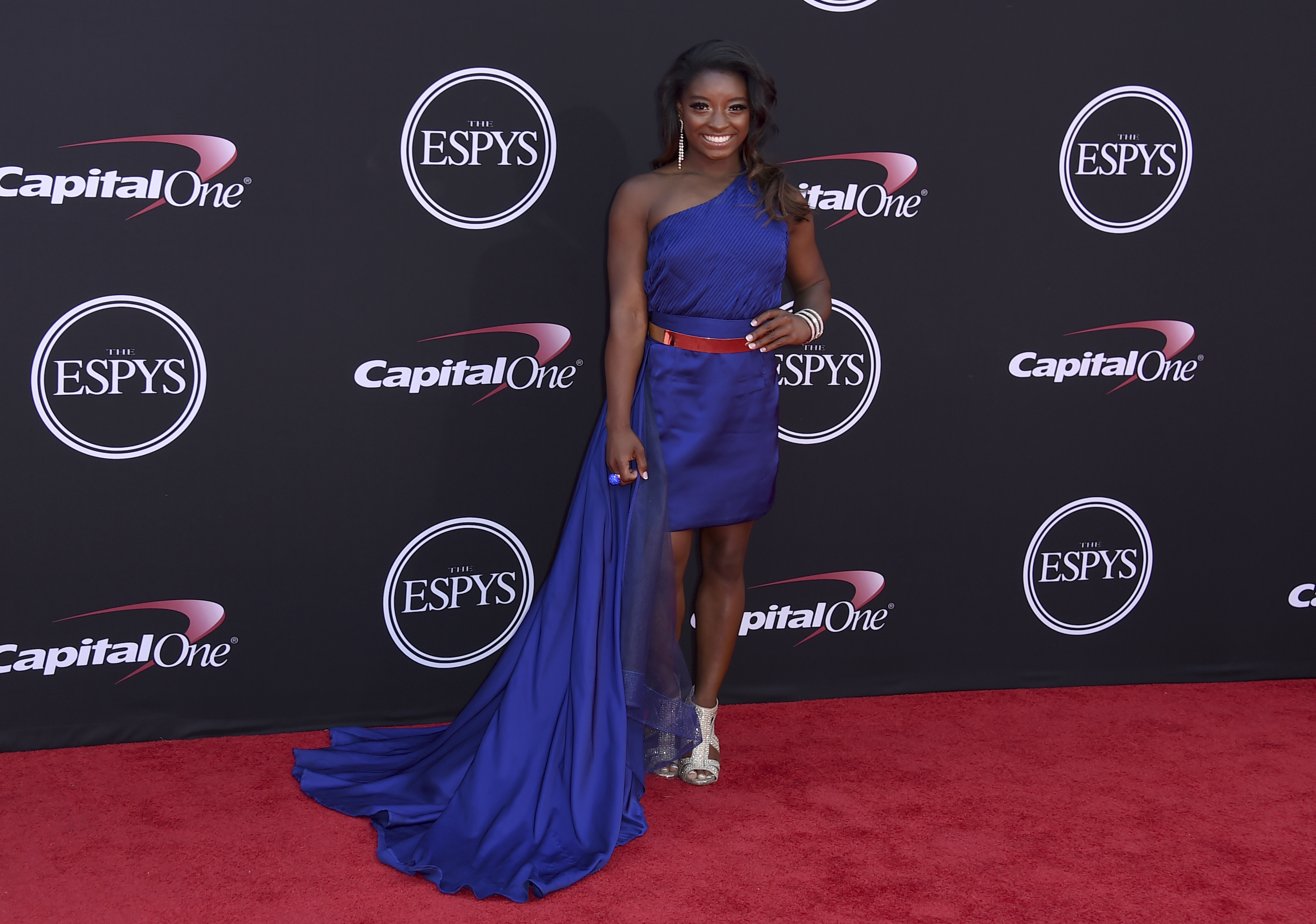 2017 ESPY Awards     Red Carpet Arrivals     Orange County Register Gymnast Simone Biles arrives at the ESPYS at the Microsoft Theater on  Wednesday  July 12  2017  in Los Angeles   Photo by Jordan  Strauss Invision AP