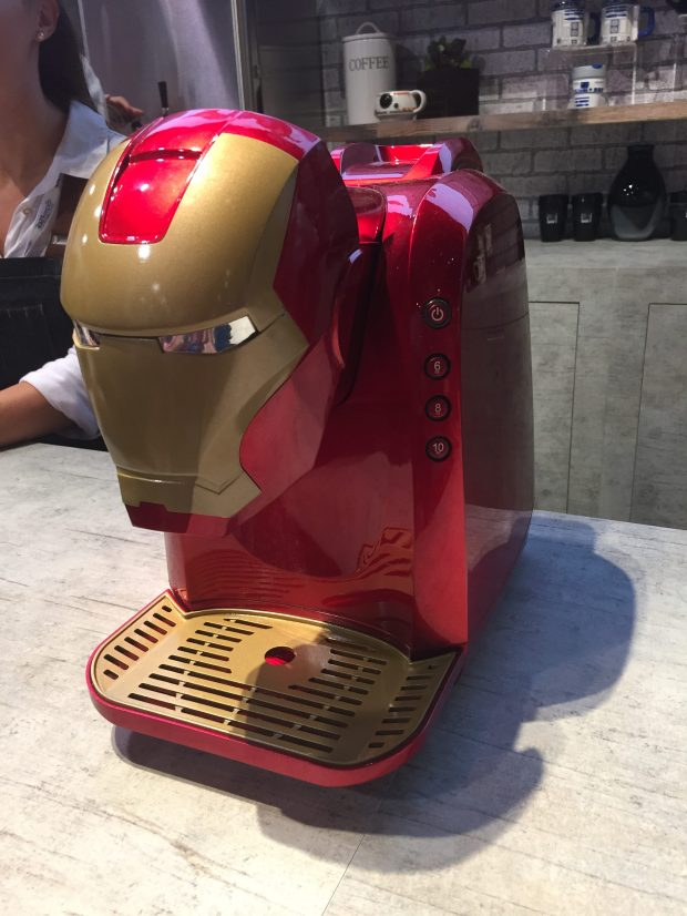 Also not for sale was this Iron Man instant coffee maker. Coffee-making expo workers weren't using this guy but said he'd be available in the fall. (Photo by Samantha Valtierra Bush/SCNG)