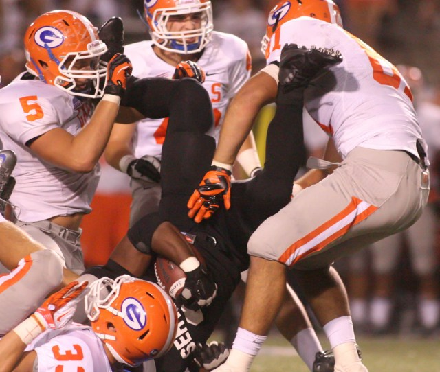 Of Bishop Gorman Defenders During The First Half Friday At Cerritos College Additional Info  Ab Shot  Armando Brown