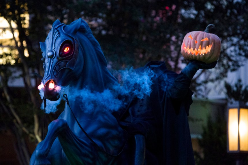 The Headless Horseman statue on display inside Disney California Adventure features smoke and flashing lights on Friday, September 15, 2017. (Photo by Drew A. Kelley, Contributing Photographer)