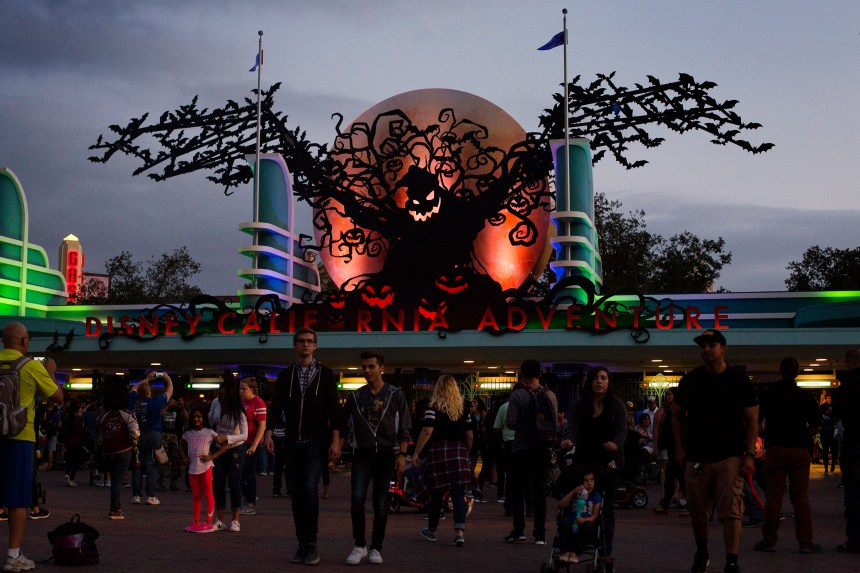 The entrance of Disney California Adventure features an Oogie Boogie decoration on Friday, September 15, 2017. (Photo by Drew A. Kelley, Contributing Photographer)