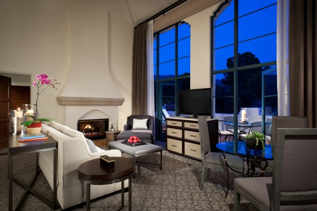 Moonrise in one of the two penthouses at Ojai Valley Inn.