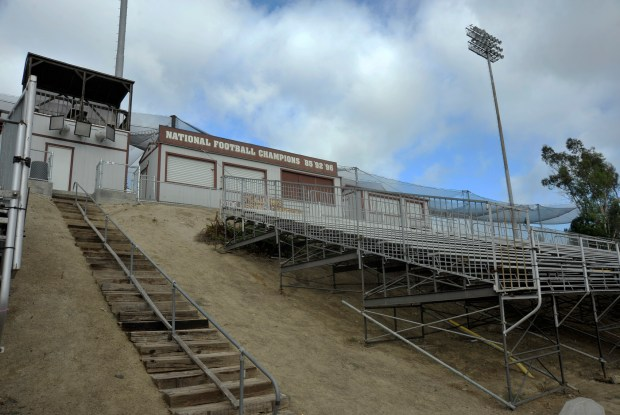 Aging wooden steps lead to an outdated seating area and announcerÕs booth in the stadium at Saddleback College. ///ADDITIONAL INFO: mv.stadium.0918 - 09/14/15 - PHOTO BY JEFF ANTENORE, CONTRIBUTING PHOTOGRAPHER Ð