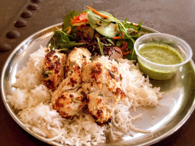 Chicken kebabs at Adya, at the Packing House in Anaheim. (Photo by Brad A. Johnson, Orange County Register/SCNG)