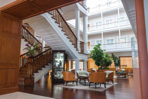 Lobby area of Central Hotel, Panama City, Panama.