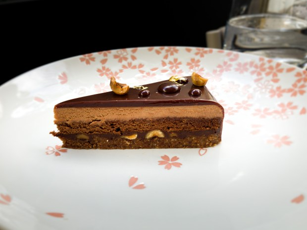 Chocolate hazelnut Louis XV cake at Knife Pleat in Costa Mesa (Photo by Brad A. Johnson, Orange County Register/SCNG)
