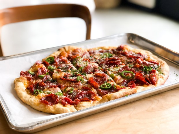 The Stinger, a New Haven style pizza with salame, peppers and honey at Parallel Pizza in Dana Point (Photo by Brad A. Johnson, Orange County Register/SCNG)