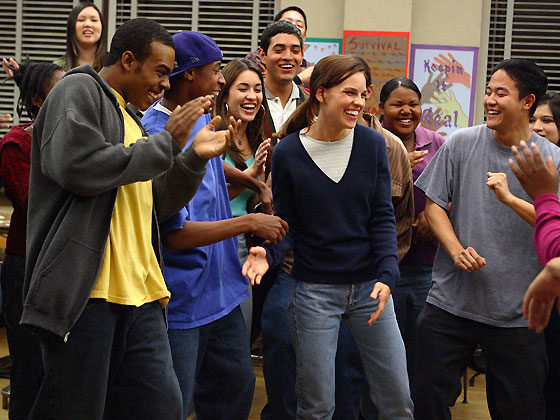 Working Actors From Left In Foreground Mario Deance Wyatt And Hilary Swank Are Part Of A Cast Easily Up To The Sharp Direction Of Richard Lagravenese
