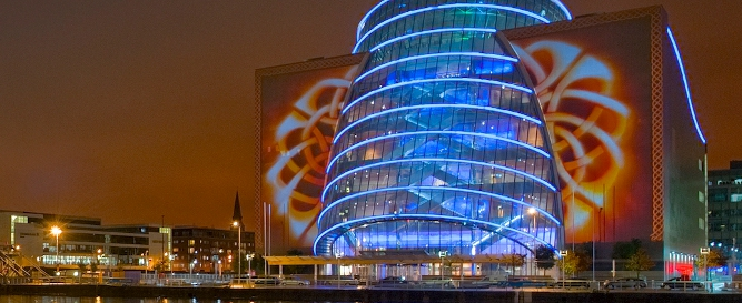 Image result for national conference centre dublin by night