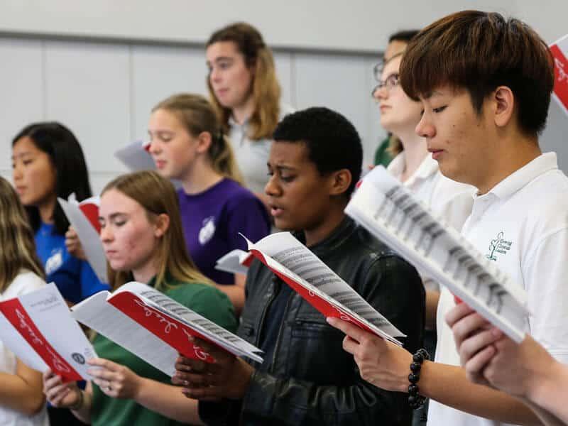 Band students enjoy the music fine arts program at Ontario Christian High School