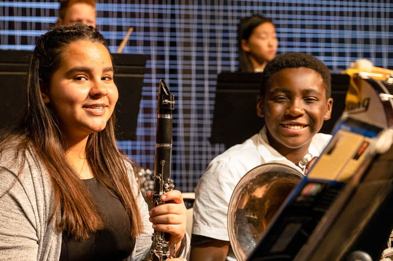 Ontario Christian middle school students participate in band and fine arts.