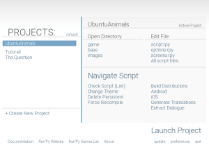 The Project's screen allows you create, view and deploy an interactive novel.