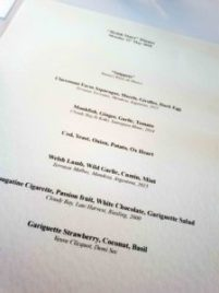 Welsh Stars Dinner Menu