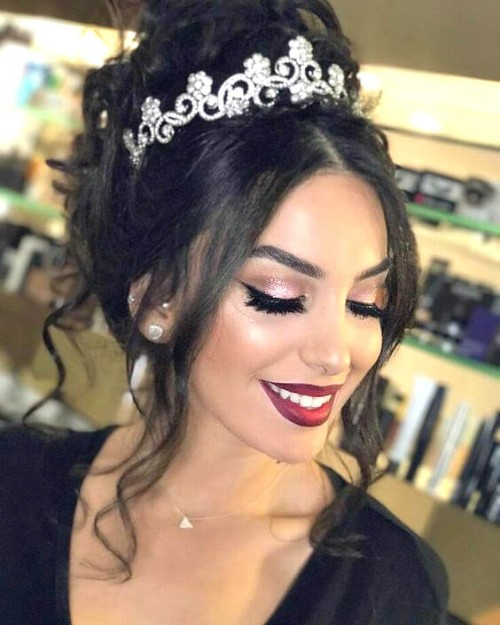 Cute Quinceanera Hairstyles With Crown