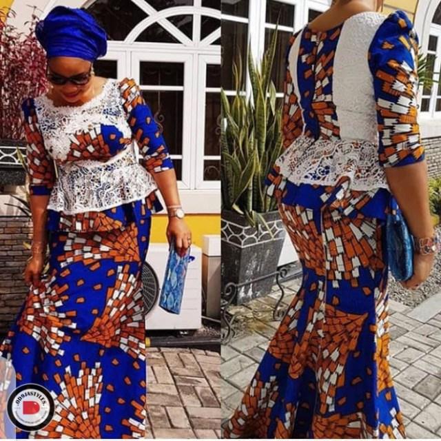 Peplum Skirt and Ankara Blouse Styles peplum skirt and ankara blouse styles - Peplum Skirt and Ankara Blouse Styles 7 640x640 - 45 Elegant and Stylish Ways To Rock Your Peplum Skirt and Ankara Blouse Styles